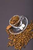 Glascup und Kaffeebohnen stockbild
