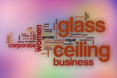 Glasdecken-Wortwolke mit abstraktem Hintergrund stock abbildung