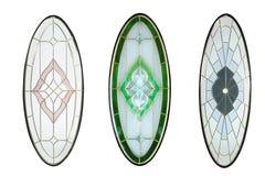 Glasdesign lokalisiert für die hölzerne Tür mit weißem Hintergrund Stockfotografie