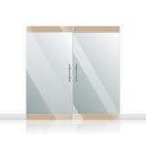 Glasdeur met geplaatste chroom zilveren handvatten Royalty-vrije Stock Foto's