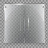 Glasdeur op geïsoleerd op transparante achtergrond Vector illustratie Stock Afbeelding
