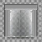 Glasdeur op transparante achtergrond wordt geïsoleerd die Vector illustratie Stock Afbeeldingen