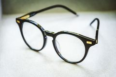 Black glases. Glases black  on white background.Artistic look Stock Photos