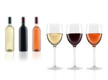 Glases i butelki wino Obrazy Stock