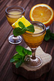 Glases of orange liqueur with mint Stock Images