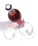 Glasess and botlle of red wine from the top Stock Images