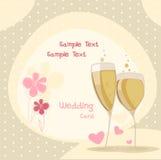 Glasess de mariage avec le shampagne Images stock