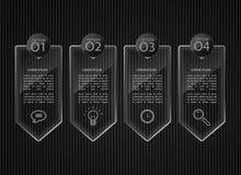 Glasfahnen, lösten infographic Schablonen aus Stockfotos