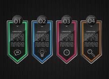 Glasfahnen, lösten infographic Schablonen aus Lizenzfreie Stockfotos