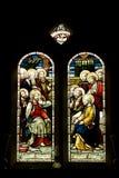 Glasfenster des frommen Flecks Stockbild