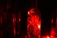 Glasflasche in Laserlichten Lizenzfreie Stockfotos