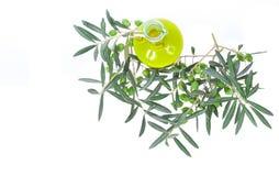Glasflasche mit reinem Extraolivenöl und Ölzweigen Olivenbaumbrunch mit den Oliven lokalisiert auf weißem Hintergrund Lizenzfreies Stockbild