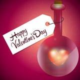 Glasflasche mit rotem Herzen nach innen Lizenzfreie Stockfotos