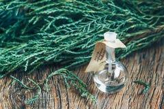 Glasflaska av nödvändig olja på träbakgrund Royaltyfri Foto