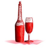 Glasflaska och exponeringsglas med vin Royaltyfria Foton