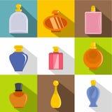 Glasflaskasymbolsuppsättning, lägenhetstil Arkivbild