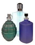 Glasflaskor av doft som isoleras på vit Fotografering för Bildbyråer