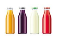 Glasflaskor för fruktsaft och sodavatten Metalllock Royaltyfria Bilder