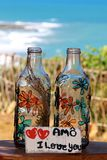 Glasflaskor räcker målade blommor arkivbild