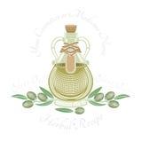 Glasfles olijfolie met fruit en bladeren Stock Afbeelding