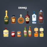 Glasfles van drankreeks Inzameling van diverse drank royalty-vrije illustratie