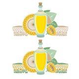 Glasfles zonnebloemolie met gebied en bloem Royalty-vrije Stock Afbeeldingen