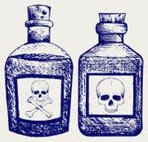 Glasflessen van vergift Stock Foto