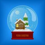 Glasgebied met sneeuw en huisvector Stock Afbeelding