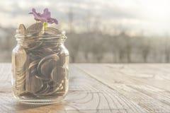 Glasgefäß ist von den goldenen Münzen auf Sonnenaufgang voll lizenzfreie stockbilder