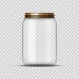 Glasgefäß für das Einmachen und Erhaltung Glas-Designschablone des Vektors leere mit Abdeckung oder Deckel auf transparentem stock abbildung
