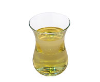 Glasgefäß mit dem Öl lokalisiert auf weißem Hintergrund Stockfotografie