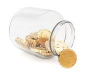 Glasgefäß mit Münzen Stockfotografie
