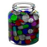 Glasgefäß mit Pillen Stockbilder