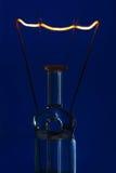 Glasglühlampe mit dem brennenden Faden aufrecht mit blauem backgro stockfoto