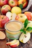 Glasglas frische Apfelsauce lizenzfreie stockfotos