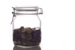 Glasglas mit Geld Stockfoto