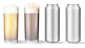 Glasglazen en aluminiumblikken met een bier vector illustratie