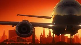 Glasgow Airplane Take Off Skyline Golden Background Royalty Free Stock Photos