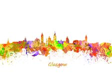 Glasgow Watercolor  skyline Stock Photo