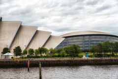 Glasgow Auditorium and SSE Hydro. Glasgow, Scotland, UK - July 07, 2017: The SEC Armadillo and SSE Hydro Arena make up two parts of the Scottish Event Campus & Stock Images