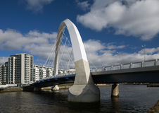 Glasgow bridge. The Clyde Arc bridge in Glasgow, Scotland, against a cloudscape Royalty Free Stock Photos