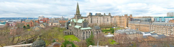 Glasgow Cathedral. Panorama photo of Glasgow with the old Glasgow Cathedral in the center Stock Photography