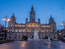 Glasgow City Chambers. City Chambers in George Square in Glasgow Scotland at night Royalty Free Stock Photos