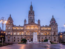Glasgow City Chambers. City Chambers in George Square in Glasgow Scotland at night stock image