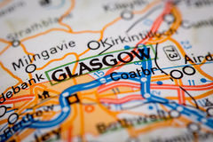 Glasgow City on a Road Map Royalty Free Stock Image