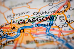 Glasgow City on a Road Map Stock Image