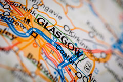 Glasgow City on a Road Map Stock Photography