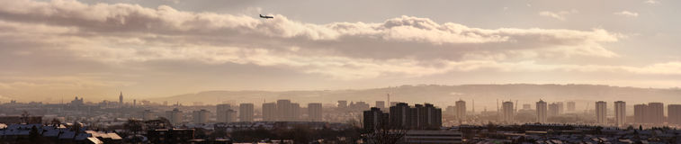 Glasgow Cityscape. A panoramic image of the scottish city of Glasgow taken from afar Stock Photos