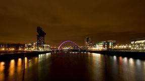 Glasgow Clyde. A night shot of the river Clyde in Glasgow royalty free stock photography