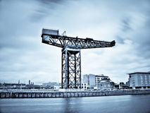 Glasgow clyde river. Infrared picture of Glasgow clyde river with Finnieston crane and bridge Stock Images